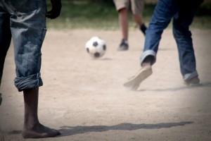 Soccer match photographed by homeless teens.
