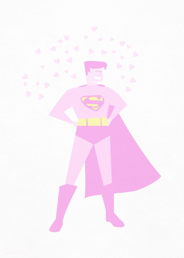Superman valentine illustration