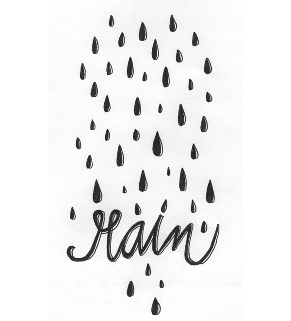 Rain - Don't Give up the Ship - hand lettered illustration by Lisa Congdon