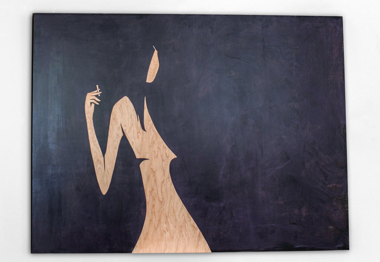 Smoking Girl painting by Troy DeShano 2014.